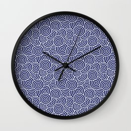 Chinese Spirals Pattern   Abstract Waves   Swirl Patterns   Circles and Swirls   Blue and White   Wall Clock