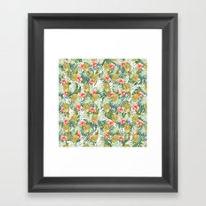 Tropical Hibiscus Pineapples Leaves Watercolor Floral Framed Art Print