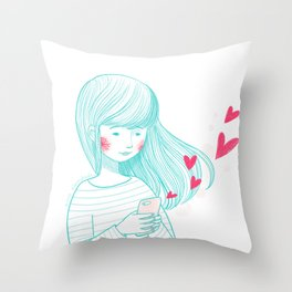 Texting love Throw Pillow