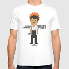 Charlie Chaplin - Modern Times - Alternative Poster Mens Fitted Tee White SMALL