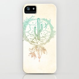 Desert Cactus Dreamcatcher Turquoise Coral Gradient iPhone Case