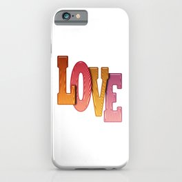 Love Word Pile of Coloured Wooden Letters iPhone Case