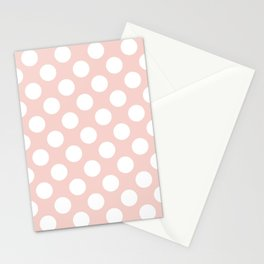 Polka Dots, Spots (Dotted Pattern) - Pink White Stationery Cards