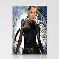 lara croft Stationery Cards featuring Angelina Jolie as Lara Croft by Brian Raggatt