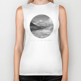 Life Is A Journey (Black & White) Biker Tank