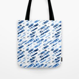 Watercolor blue brush rain Tote Bag