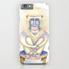 a pretty chill mandrill portrait, white yellow blue ivory cream orange brown iPhone Case