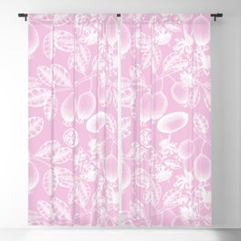 Modern girly pink white hand painted floral berries pattern Blackout Curtain