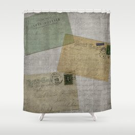 Vintage Postcards with Script Background Shower Curtain