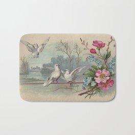 Vintage White Forest Birds Bath Mat
