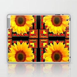 QUATRE WESTERN BLACK & RED ART DECO YELLOW SUNFLOWER Laptop & iPad Skin