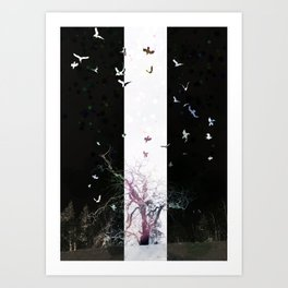 Axis Mundi with Crows in Light Art Print