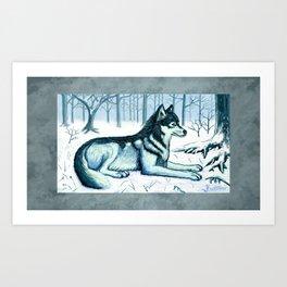 A Wolf in Winter Art Print