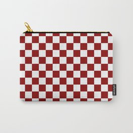 Small Checkered - White and Dark Red Carry-All Pouch