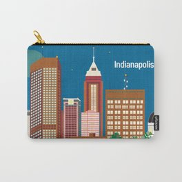 Indianapolis, Indiana - Skyline Illustration by Loose Petals Carry-All Pouch