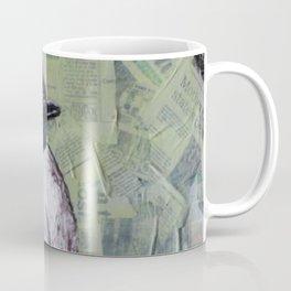 Chickadee Bird on Newsprint Coffee Mug