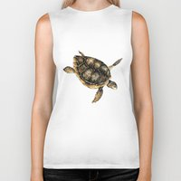 sea turtle Biker Tanks featuring Sea turtle by Anna Yudina