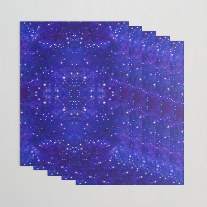 Fractal Galaxy Blues Wrapping Paper