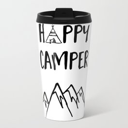 Happy Camper quote + Mountain for Kids Room Travel Mug