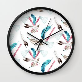 Watercolour Tribal Pattern with Feathers and Hatchets Wall Clock