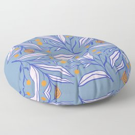 Flowers with blue and pink leaves and with orange berries Floor Pillow