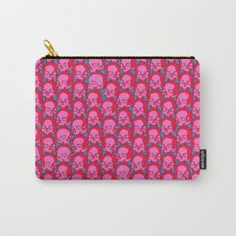 Funky Skulls PINK / Line art skull graphic Carry-All Pouch