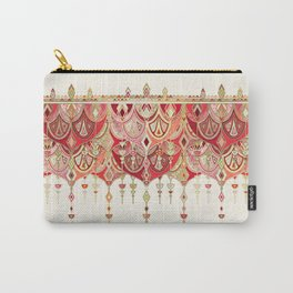 Royal Red Art Deco Double Drop Carry-All Pouch