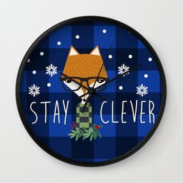 Stay Clever Winter Fox Wall Clock
