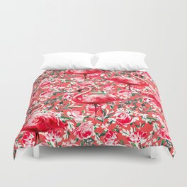 Flamingos and Flowers Duvet Cover