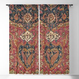 Persian Medallion Rug VII // 16th Century Distressed Red Green Blue Flowery Colorful Ornate Pattern Blackout Curtain