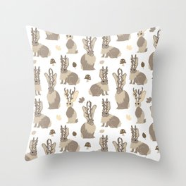Jackalope Forest Throw Pillow