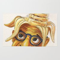 woody allen Area & Throw Rugs featuring Woody Allen: 7 slices of banana by Alejandra Dirzo