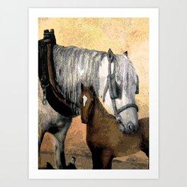 Plow Horse and Foal Art Print