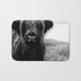 Scottish Highland Cattle Baby - Black and White Animal Photography Bath Mat