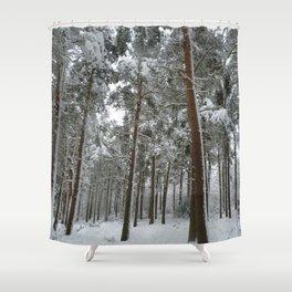 Snowy woodland Shower Curtain