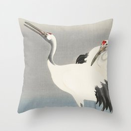 Two Cranes - Vintage Japanese Woodblock Print Art Throw Pillow