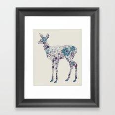 Flower Deer Framed Art Print