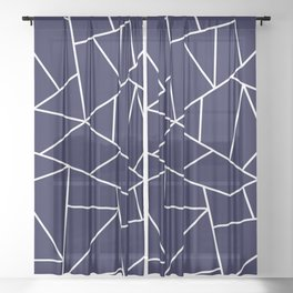 White Mosaic Lines On Navy Blue Sheer Curtain