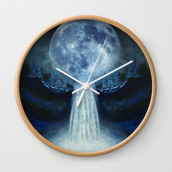 waterfall moon Wall Clock