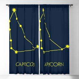 CAPRICORN (YELLOW-NAVY BLUE STAR SIGN) Blackout Curtain