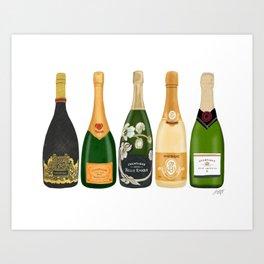 Champagne Bottles Art Print