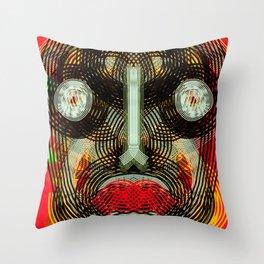 Graffiti Outsider Art Portrait in Red Throw Pillow