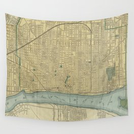 Vintage Map of Detroit Michigan (1895) Wall Tapestry