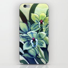 Green Orchids Triptych iPhone Skin