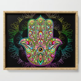 Hamsa Hand Amulet Psychedelic Serving Tray