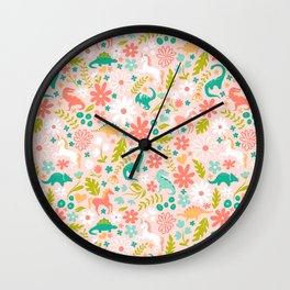 Dinosaurs + Unicorns in Pink + Teal Wall Clock