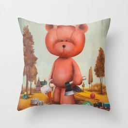 Grumble bear Throw Pillow