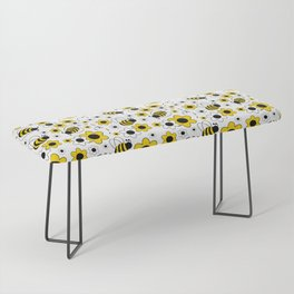 Honey Bumble Bee Yellow Floral Pattern Bench