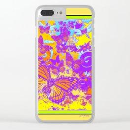 Purple Monarch  Butterflies  Surrealism Yellow Art Clear iPhone Case