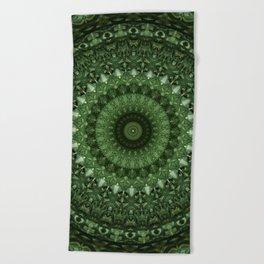 Mandala in olive green tones Beach Towel